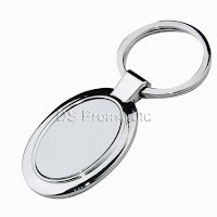 Oval metal keychain