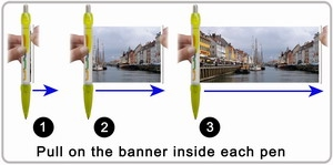 Banner pen pulling index