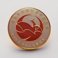 Gold logo metal badge