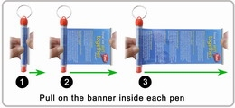 Scroll out the flag from banner keyring