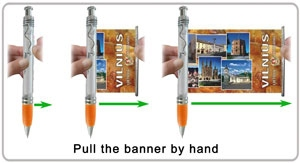 Pull out the flag from flyer pen