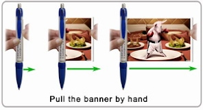 Scroll out the flag from banner pen