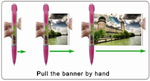 Pull out the banner from banner pen