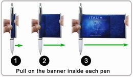 Pull out the flag from scroll pen